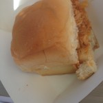 """Wax Paper's Little sandwiches of """"Garth Trinidad"""" pollo pibil on sweet rolls (Photo by Elise Thompson"""