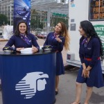 airline reps from Aeromexico share a joke