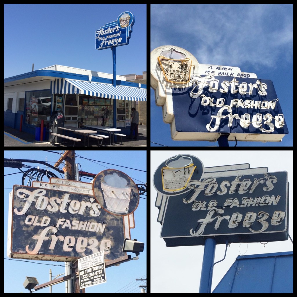 Four surviving locations that used the ice cream in a cup logo. Clockwise from top left: 1) Cravens Ave, Torrance. Opened 1947. Store #23. 2) Fletcher Drive In Atwater Village, built 1949, Store #107. 3) Whittier Blvd in Boyle Heights. Built 1948. 4) Maclay Ave in San Fernando, CA. Built 1948, Store #21.