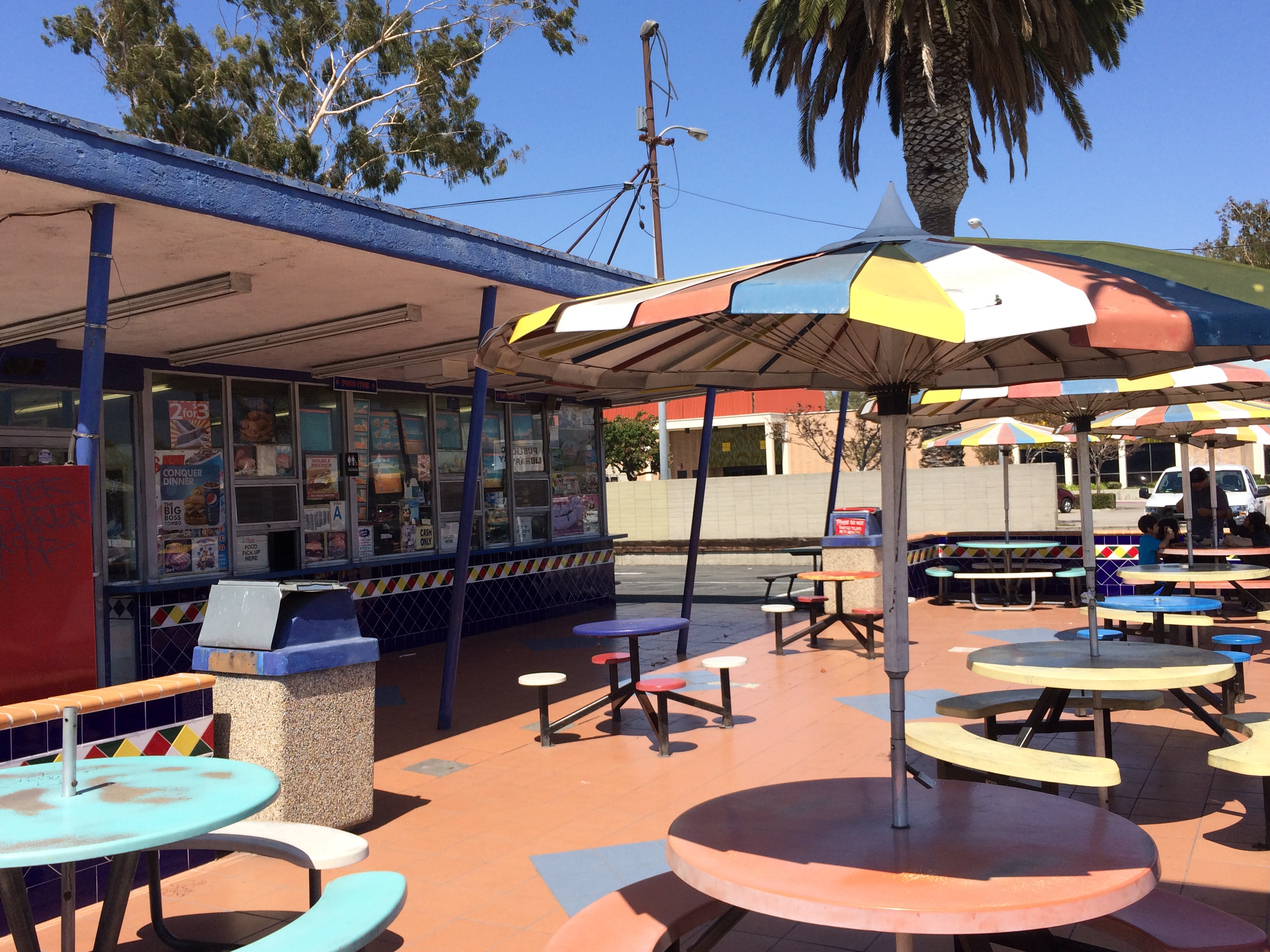 This Fosters Freeze on Carson Street in Carson was built in 1959. The eating area is a mid-century rainbow of tables. (photo by Nikki Kreuzer)