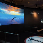 "Visitors can ""pilot"" a flying pterosaur over a prehistoric landscape in a whole-body interactive exhibit that uses motion-sensing technology.  Photo ©AMNH/D. Finnin"