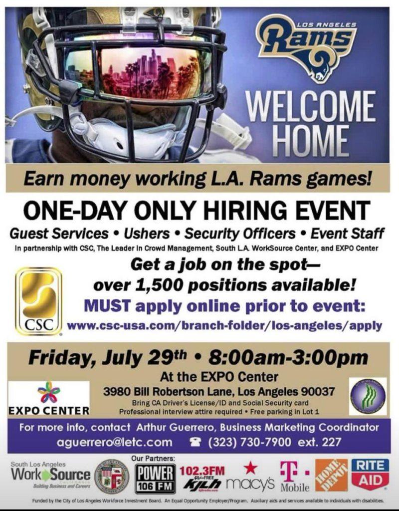LA Rams Hiring Event Poster