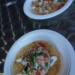 Tostada de jaiba y almejas con limón y aguacate from El Coraloense