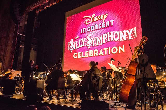 "An Evening of Disney Silly Symphonies"" shows onscreen as Los Angeles Chamber Orchestra, conducted by Mark Watters, performs scores for a series of Disney Silly Symphony animated films. (Photo by Jamie Pham and Disney)"