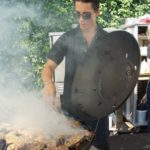 Alex Pineda of Scampo grills a Thai-style salt-cured short rib