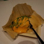 Chef Andre Bienvenu of Joe's Crab Shack's Pork Tamales with Queso Pimento and Salsa Verde