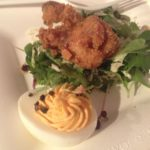 The Food Network's Robert Irvine's Buttermilk and Sriracha Southern Fried Chicken offset by Kimchi Deviled Eggs