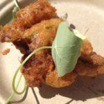 Restauration's deep-fried crab-stuffed squash blossom