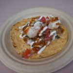 Halibut tostada from El Coraloense