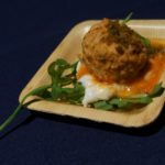 Chef Steve Samson of Sotto's Braised Pork Meatballs with burrata, arugulaand breadcrumbs