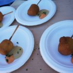 Upscale corn dogs made with a lobster and shrimp sausage from Chef Collin Cranelle of The Lobster