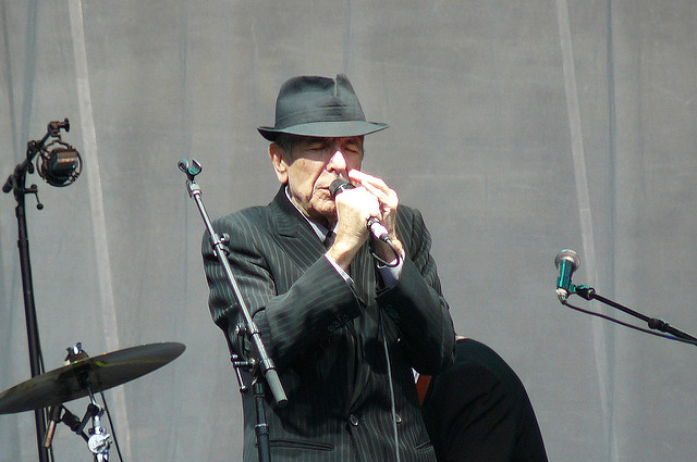 Leonard Cohen on stage at Edinburgh Castle, Scotland 16 July 2008 (Photo by jonl1973 via Flickr)