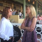 Susan Sarandon (left) is talking to Canadian Business Woman, Politician Belinda Stronach (right))  Breeders Cup World Championship 2016