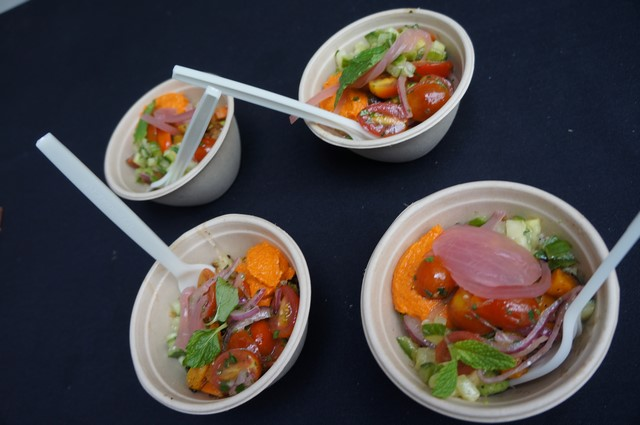 Cava Grill, winner of Best Vegetarian served Roasted seasonal veggies and brown rice served in mini bowls
